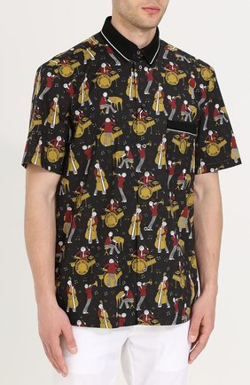 Рубашка из смеси хлопка и шелка с короткими рукавами Dolce & Gabbana черная | Фото №3