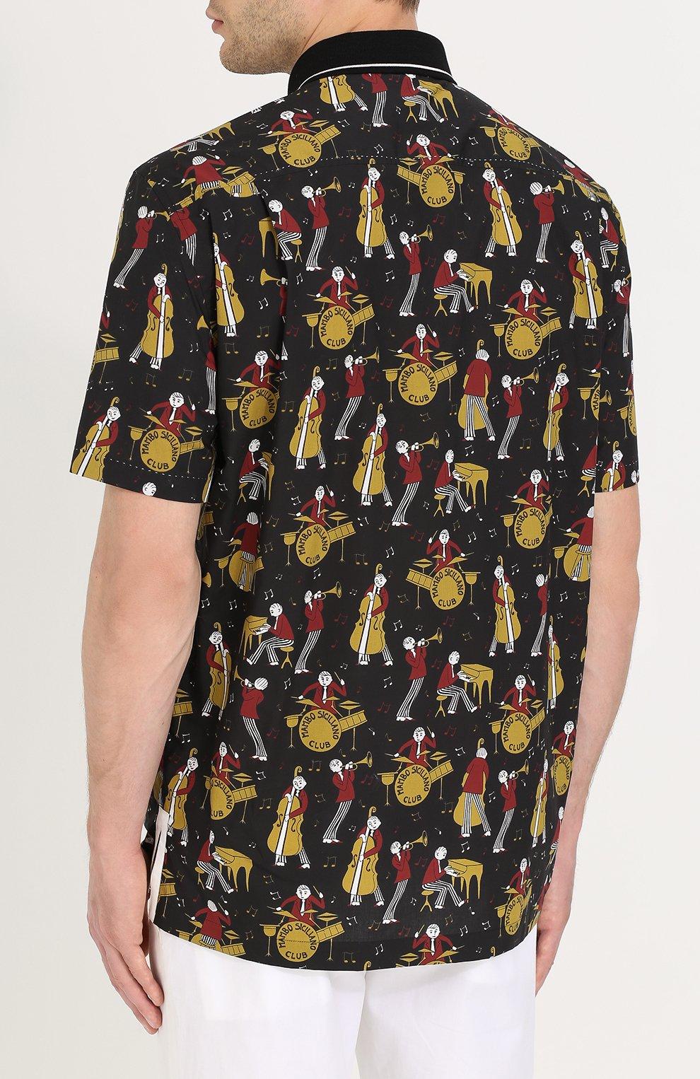 Рубашка из смеси хлопка и шелка с короткими рукавами Dolce & Gabbana черная | Фото №4