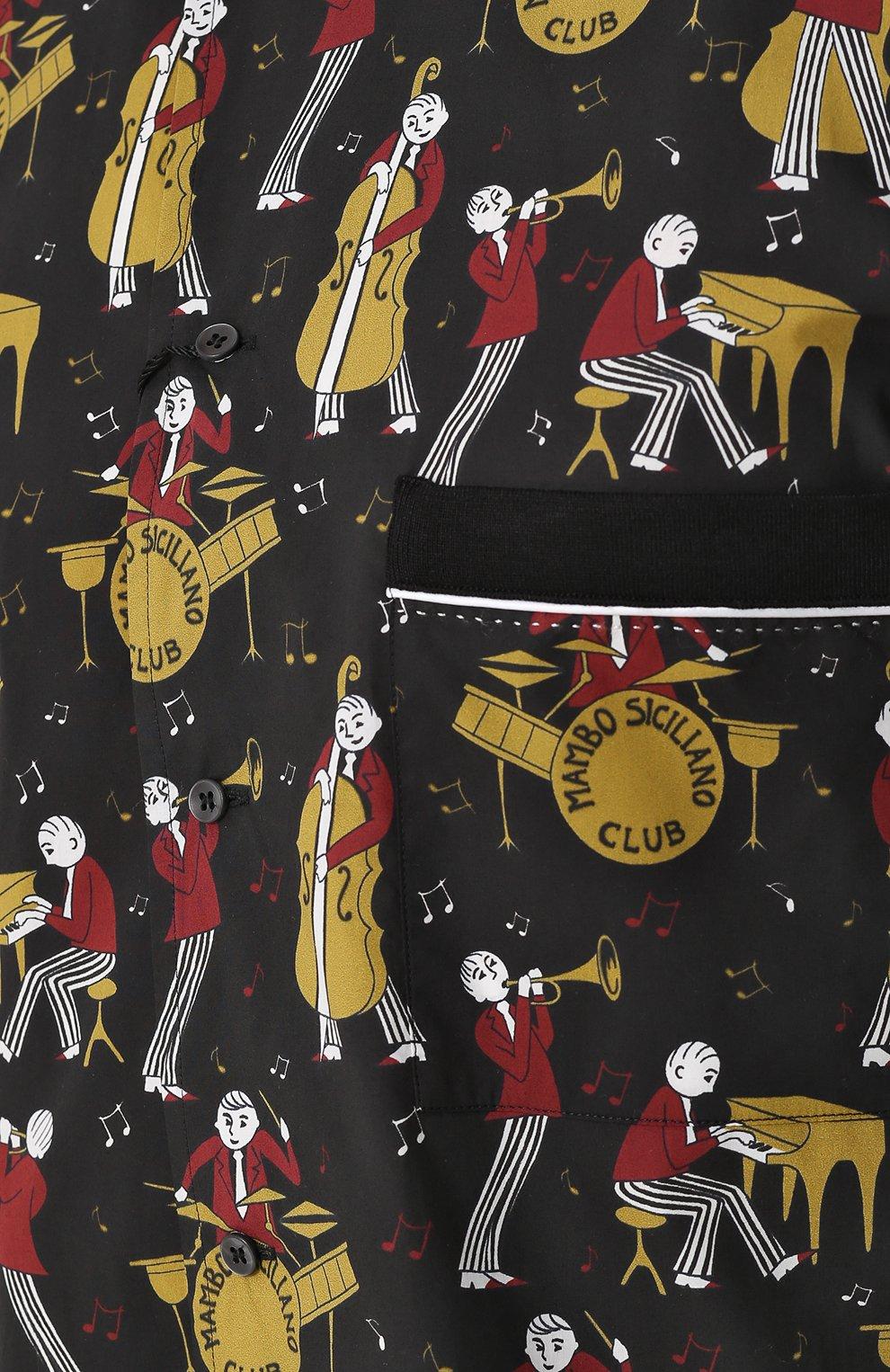 Рубашка из смеси хлопка и шелка с короткими рукавами Dolce & Gabbana черная | Фото №5
