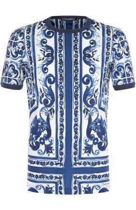 Хлопковая футболка с принтом Dolce & Gabbana голубая   Фото №1