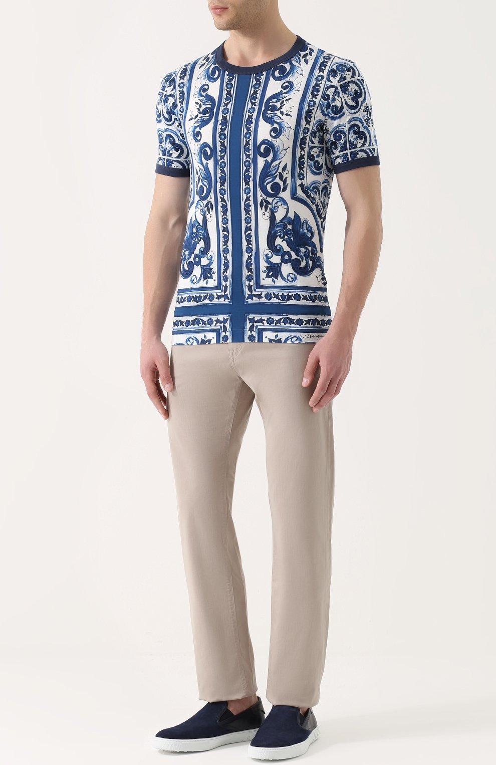 Хлопковая футболка с принтом Dolce & Gabbana голубая   Фото №2