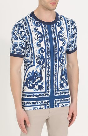 Хлопковая футболка с принтом Dolce & Gabbana голубая   Фото №3
