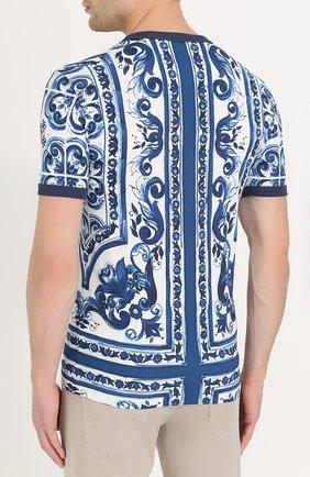 Хлопковая футболка с принтом Dolce & Gabbana голубая   Фото №4