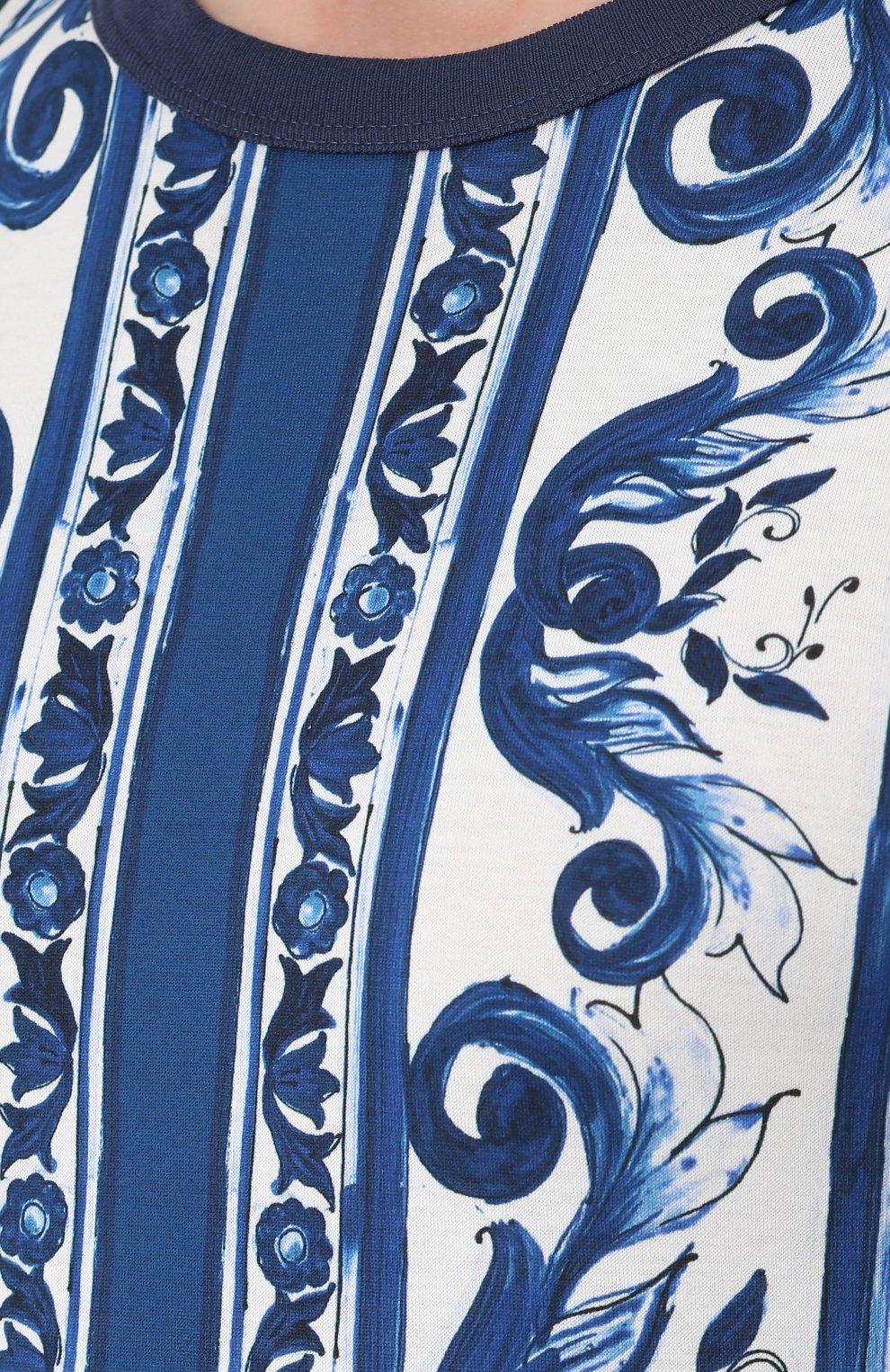 Хлопковая футболка с принтом Dolce & Gabbana голубая   Фото №5