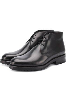 Кожаные ботинки на шнуровке с круглым мысом
