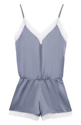 Шелковая пижама с контрастной кружевной отделкой Morpho&Luna серая | Фото №1