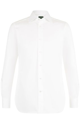 Мужская хлопковая сорочка с воротником кент ERMENEGILDO ZEGNA белого цвета, арт. 201031/9MS0BR | Фото 1