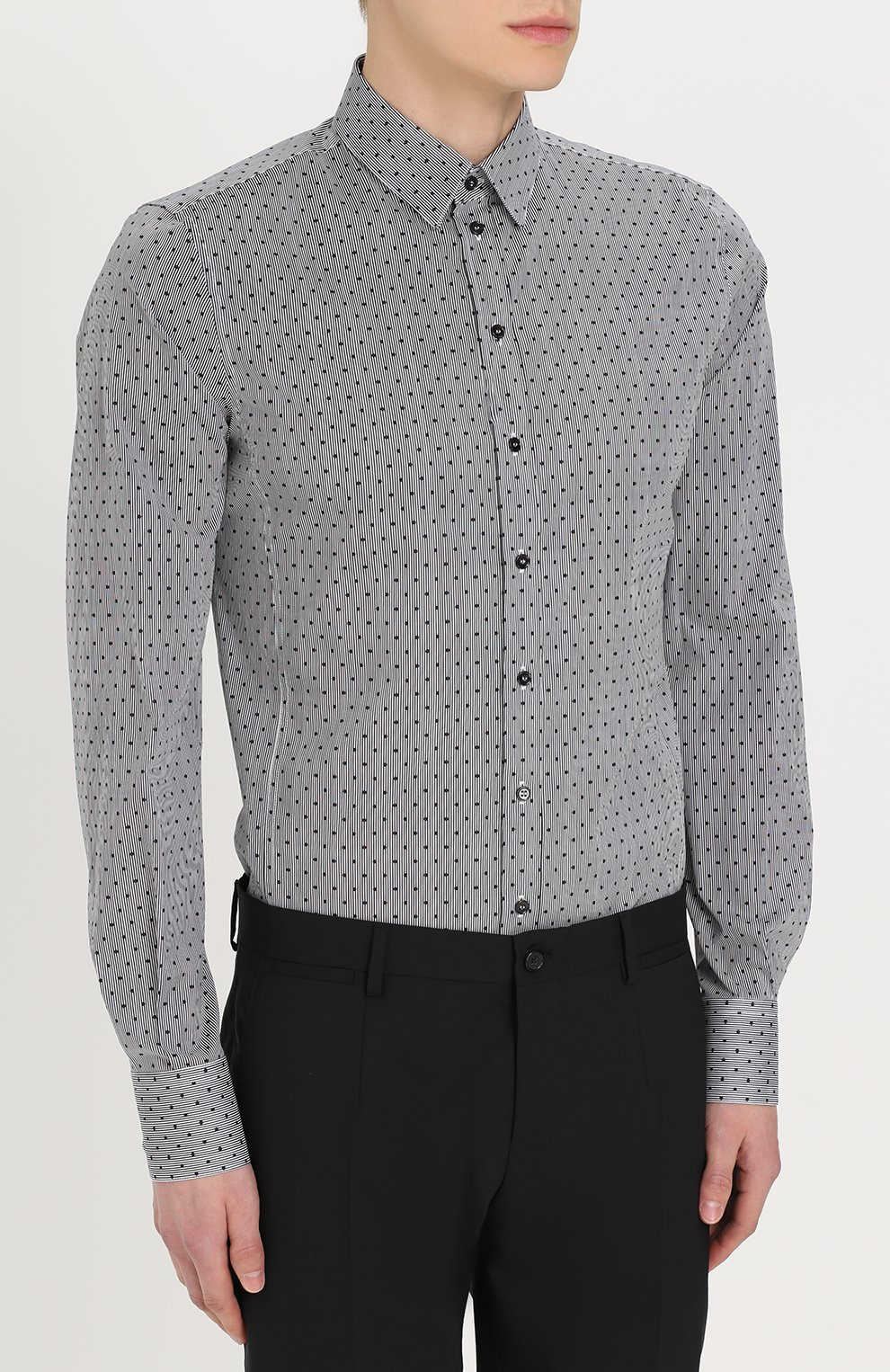 Хлопковая сорочка с воротником кент Dolce & Gabbana серая | Фото №3