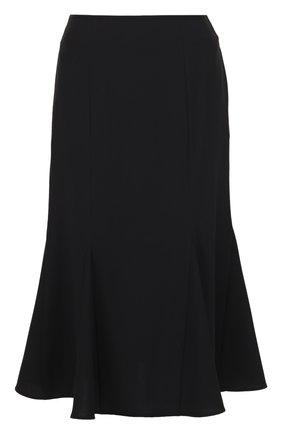 Расклешенная юбка-миди с карманами Edit черная | Фото №1