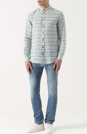 Джинсы прямого кроя с контрастной прострочкой Armani Jeans синие | Фото №1