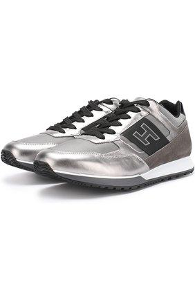 Комбинированные кроссовки на шнуровке с металлизированной отделкой