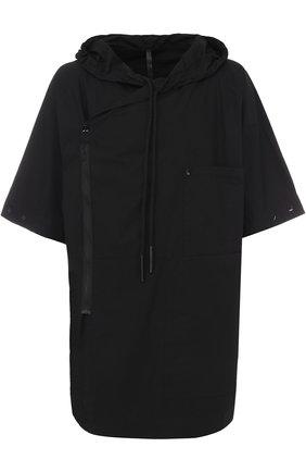 Удлиненная хлопковая рубашка свободного кроя на молнии с капюшоном Barbara I Gongini черная | Фото №1