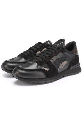 Комбинированные кроссовки Valentino Garavani Rockstud с камуфляжным принтом