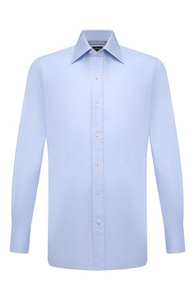 Мужская хлопковая рубашка с итальянским воротником TOM FORD светло-голубого цвета, арт. 2FT192/94C1JE | Фото 1
