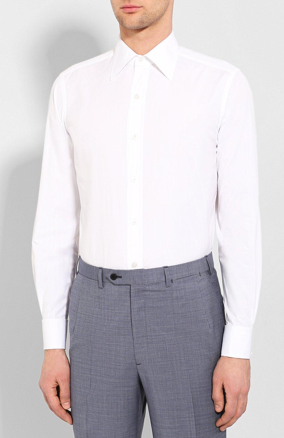 Мужская хлопковая сорочка с воротником акула TOM FORD белого цвета, арт. 2FT000/94S3AX | Фото 3