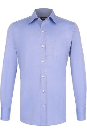 Мужская хлопковая рубашка с итальянским воротником TOM FORD синего цвета, арт. 2FT882/94S1JE | Фото 1