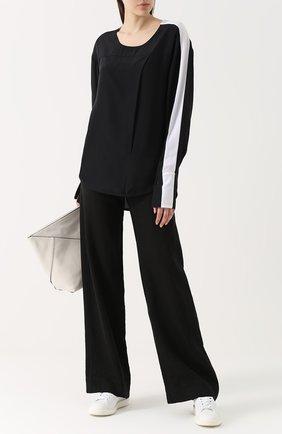 Топ с длинным рукавом и контрастной отделкой Ilaria Nistri черно-белый | Фото №1