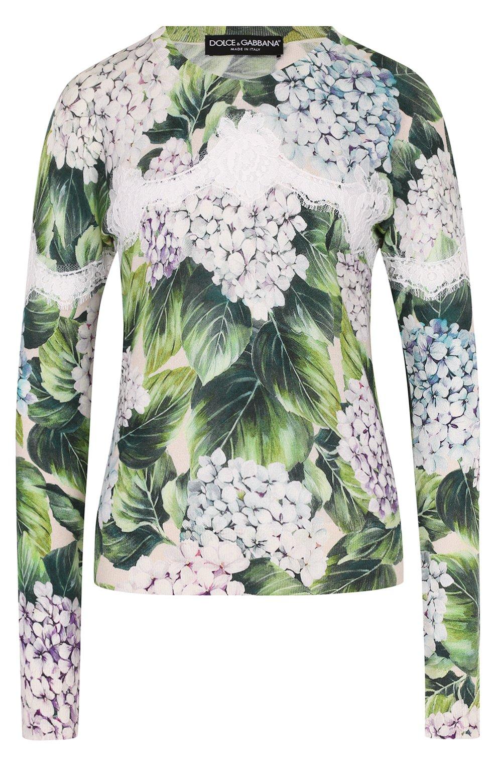 Кашемировый пуловер с цветочным принтом и кружевом | Фото №1