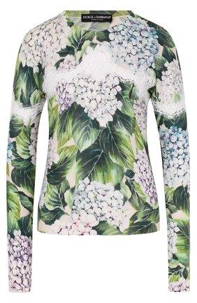 Кашемировый пуловер с цветочным принтом и кружевом Dolce & Gabbana зеленый | Фото №1