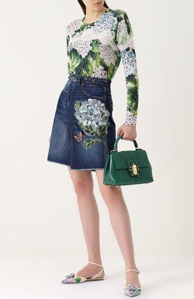 Кашемировый пуловер с цветочным принтом и кружевом Dolce & Gabbana зеленый | Фото №2