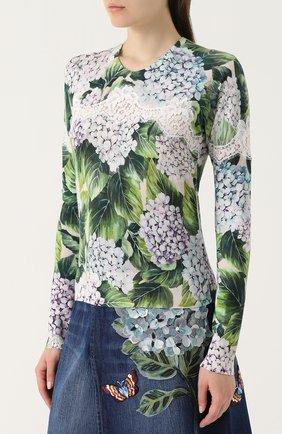 Кашемировый пуловер с цветочным принтом и кружевом Dolce & Gabbana зеленый | Фото №3