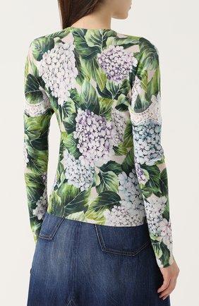 Кашемировый пуловер с цветочным принтом и кружевом Dolce & Gabbana зеленый | Фото №4