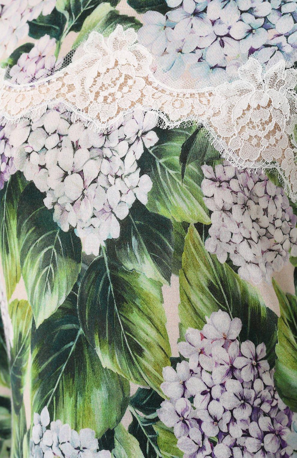 Кашемировый пуловер с цветочным принтом и кружевом Dolce & Gabbana зеленый | Фото №5