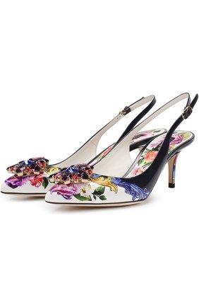 Туфли с принтом и брошами Dolce & Gabbana разноцветные | Фото №1