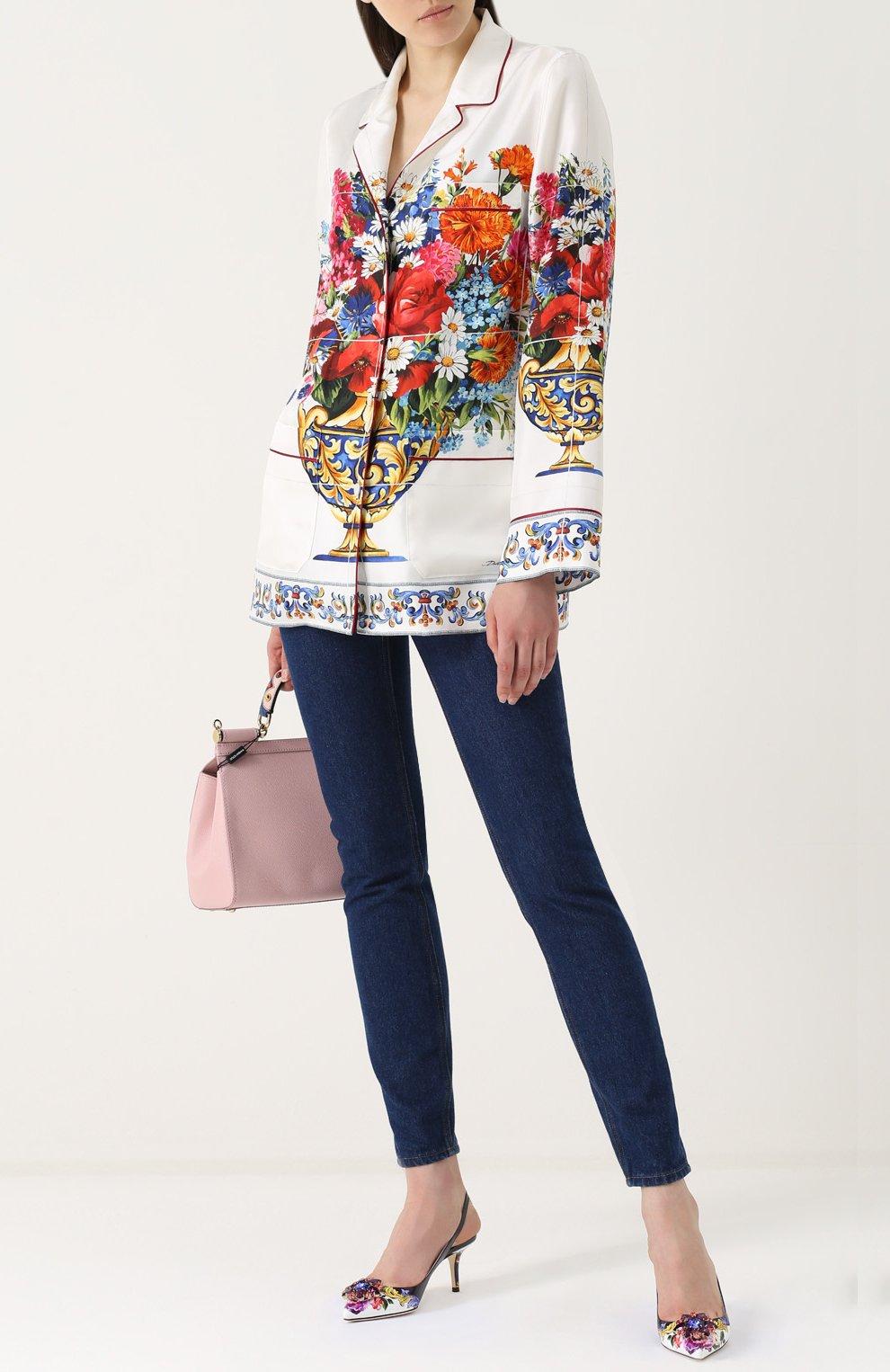 Туфли с принтом и брошами Dolce & Gabbana разноцветные | Фото №2