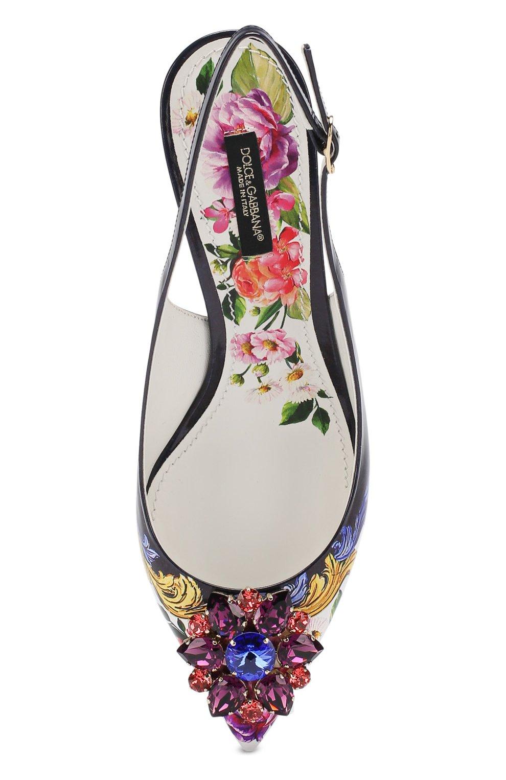 Туфли с принтом и брошами Dolce & Gabbana разноцветные | Фото №5