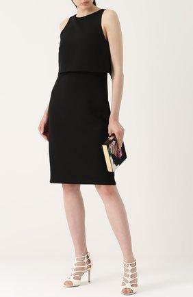 Приталенное платье-миди с кейпом Rag&Bone черное | Фото №1