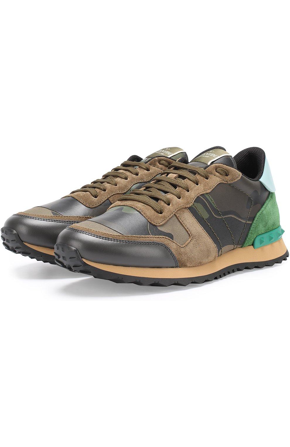 Комбинированные кроссовки Valentino Garavani Rockrunner с камуфляжным  принтом   Фото №1 4d53bbadd29
