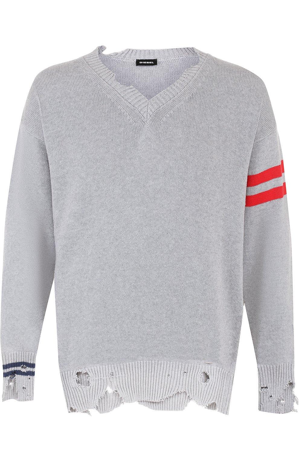 Хлопковый пуловер с декоративными потертостями   Фото №1