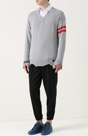 Хлопковый пуловер с декоративными потертостями   Фото №2