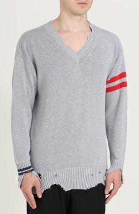 Хлопковый пуловер с декоративными потертостями   Фото №3
