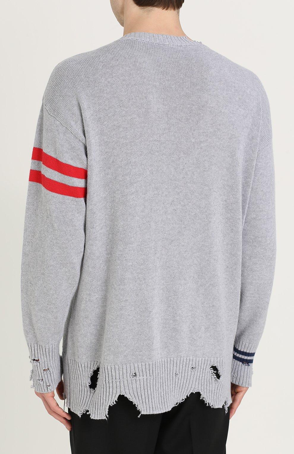 Хлопковый пуловер с декоративными потертостями   Фото №4