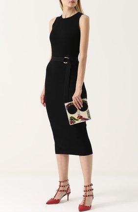 Женская кожаные туфли valentino garavani rockstud с ремешками на шпильке VALENTINO красного цвета, арт. MW2S0375/VCE | Фото 2