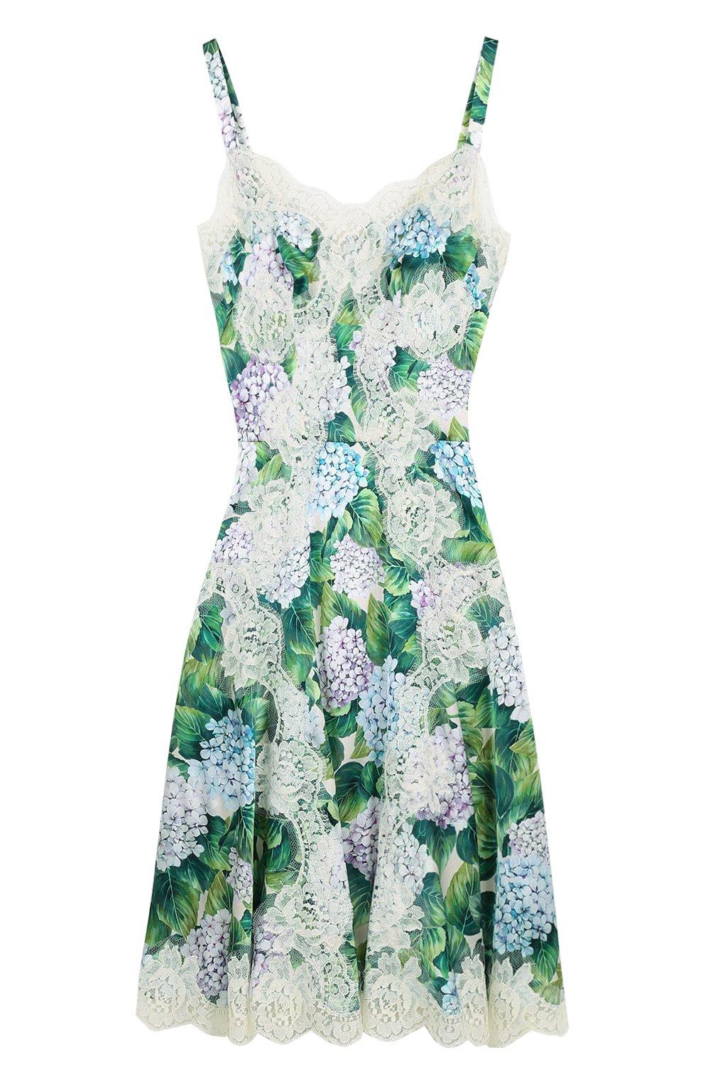Приталенное платье с цветочным принтом и кружевной отделкой | Фото №1