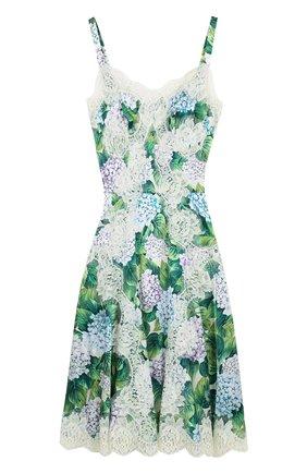 Приталенное платье с цветочным принтом и кружевной отделкой Dolce & Gabbana зеленое | Фото №1