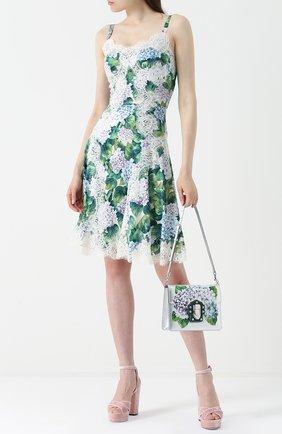 Приталенное платье с цветочным принтом и кружевной отделкой Dolce & Gabbana зеленое | Фото №2