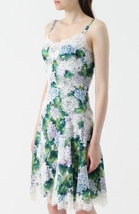 Приталенное платье с цветочным принтом и кружевной отделкой Dolce & Gabbana зеленое | Фото №3