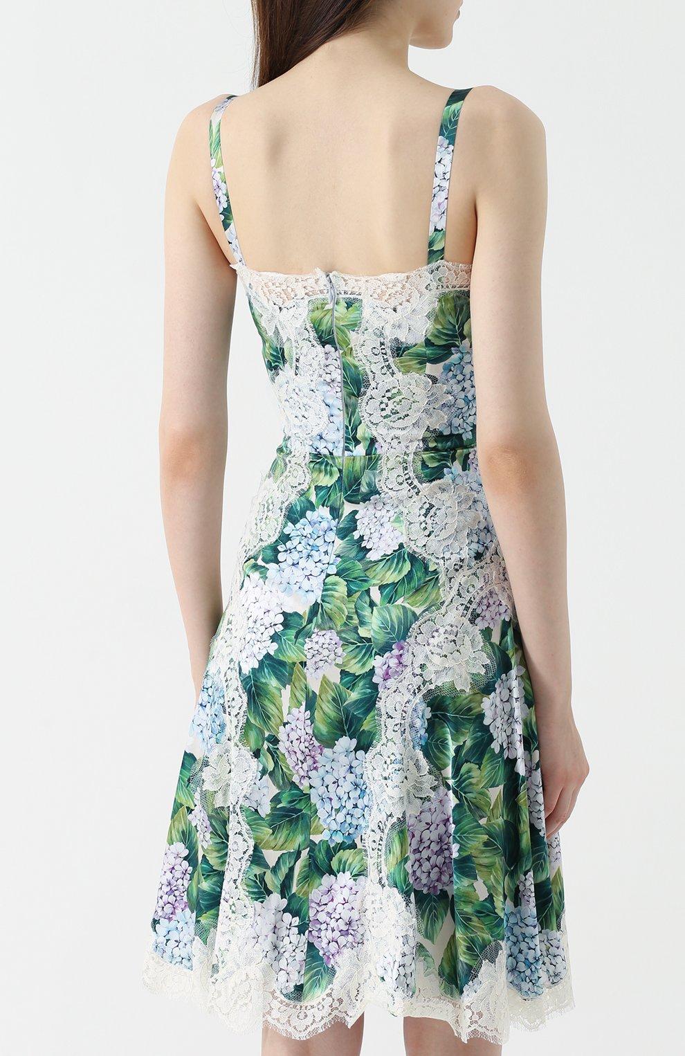 Приталенное платье с цветочным принтом и кружевной отделкой Dolce & Gabbana зеленое | Фото №4
