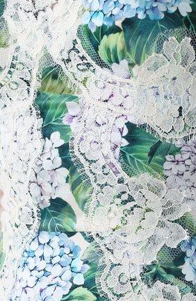 Приталенное платье с цветочным принтом и кружевной отделкой Dolce & Gabbana зеленое | Фото №5