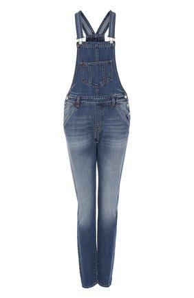 Приталенный джинсовый комбинезон с потертостями Nine in the morning синий | Фото №1