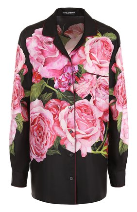 Шелковая блуза в пижамном стиле с принтом Dolce & Gabbana розовая | Фото №1