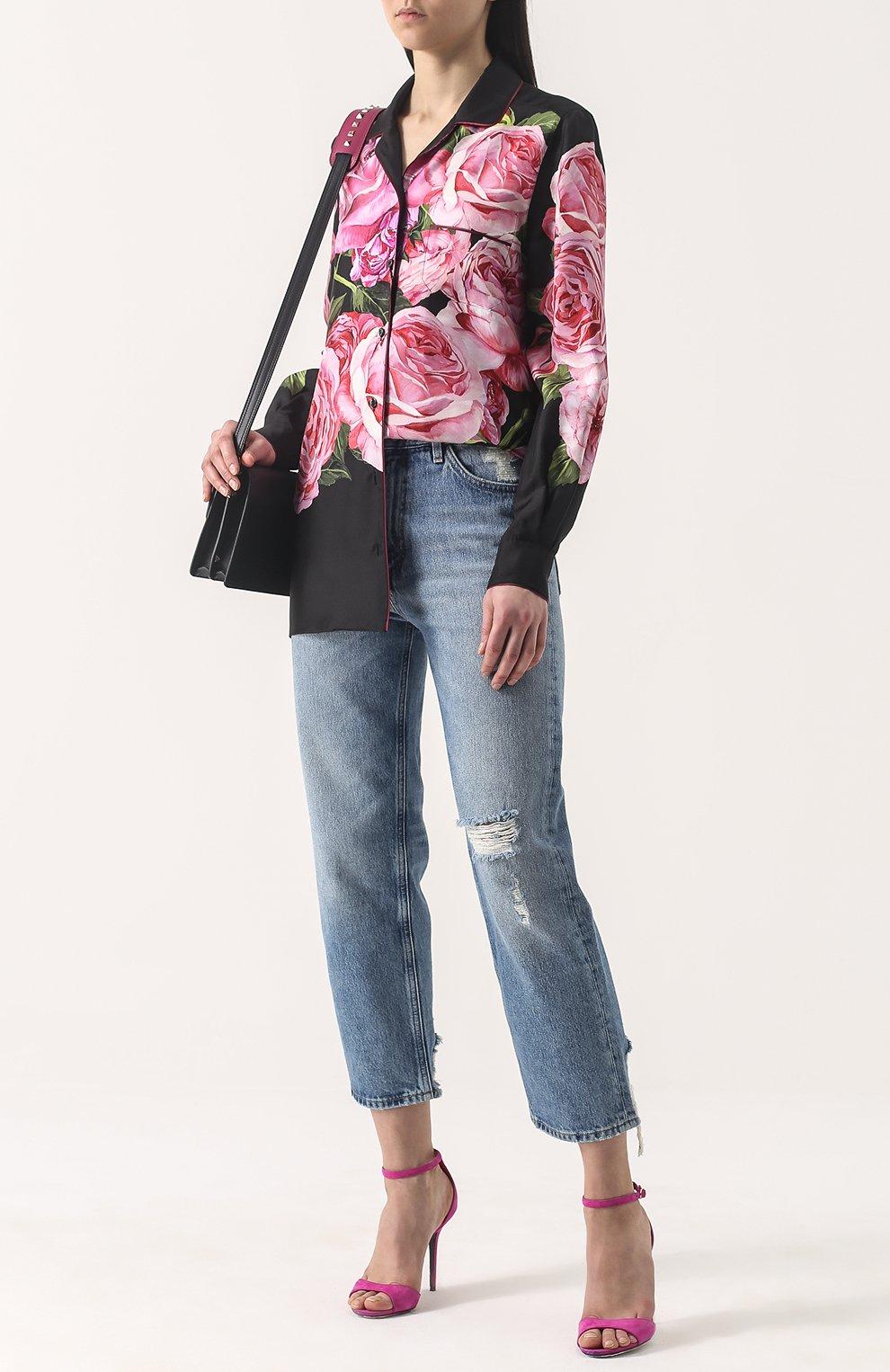 Шелковая блуза в пижамном стиле с принтом Dolce & Gabbana розовая | Фото №2
