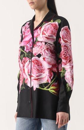 Шелковая блуза в пижамном стиле с принтом Dolce & Gabbana розовая | Фото №3