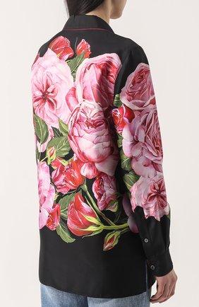 Шелковая блуза в пижамном стиле с принтом Dolce & Gabbana розовая | Фото №4