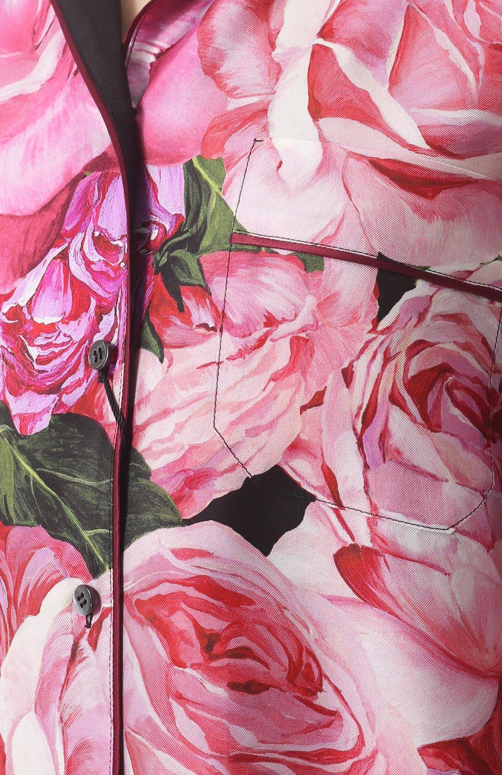 Шелковая блуза в пижамном стиле с принтом Dolce & Gabbana розовая | Фото №5