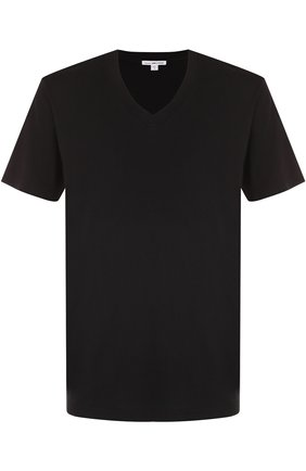 Мужская хлопковая футболка с v-образным вырезом JAMES PERSE черного цвета, арт. MHE3352/MLJ3352   Фото 1